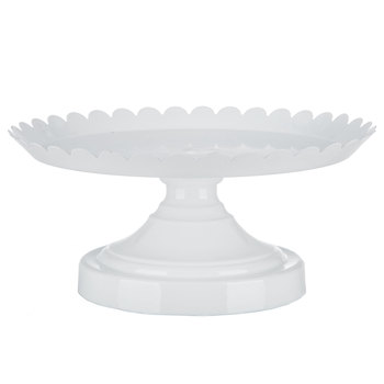 White Scalloped Cake Stand - Large